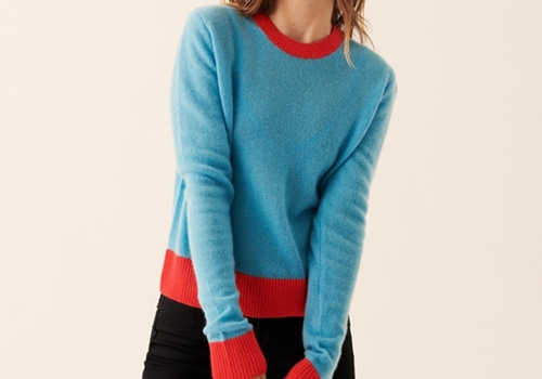 [FROM FUTURE]Lightweight Bicolored Crop Crewneck_OCEAN BLUE