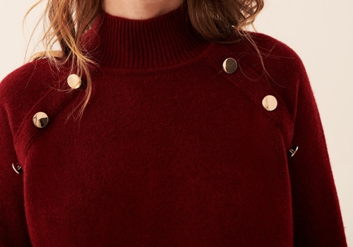 [FROM FUTURE]Button-Up Raglan Mock-Neck_BURGUNDY